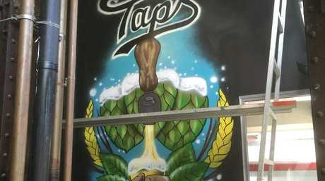The mural at the new Taps in Fortitude Valley, as work is underway for this Friday's soft opening.