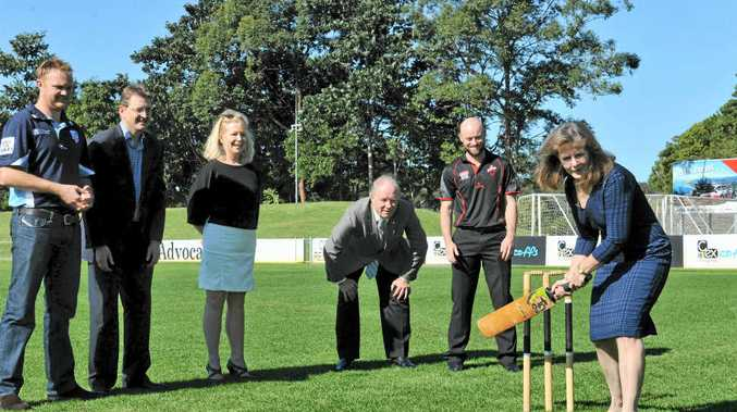 FAVOURITE SON: Nambucca Shire Council Mayor Rhonda Hoban gets on the front foot in front of guests at the announcement of the Phillip Hughes tribute match. In the slips cordon are NSW Blues quick Doug Bollinger, Cricket NSW chief executive Andrew Jones, Coffs Harbour mayor Cr DEnise Knight, member for Coffs Harbour Andrew Fraser and South Australian wicketkeeper Tim Ludeman.