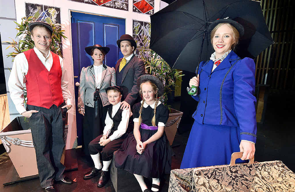STAGE READY: Musical cast members rehearsing for the shows are Bert (Matthew Richers), Mrs Banks (Zoey Friend), Mr Banks (Bradley Chapman), Michael (Javion Spargo), Jane (Alexandria Pronk) and Mary (Alexie Buma).