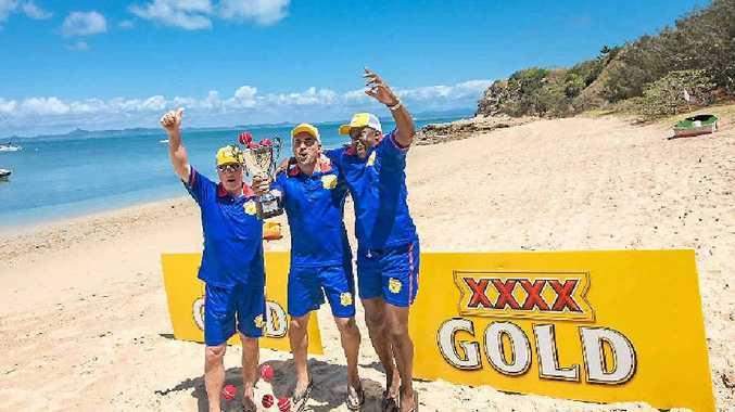 WARM MEMORIES: Ashes beach cricket match on XXXX Island.