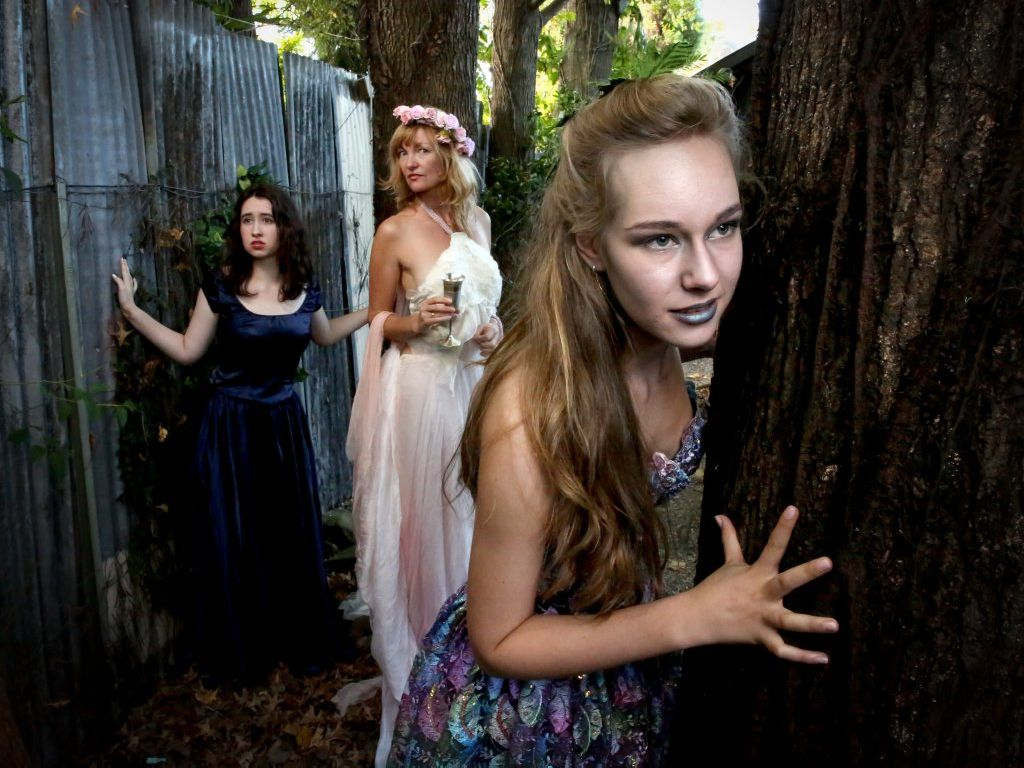 Zeph Innisfree, Veriste Ferrari and Delphi O'Heart will be characters in the upcoming midsummer night s dream Shakespeare night at Flutterbies Cafe. Photo: Nolan Verheij-Full / Tweed Daily News