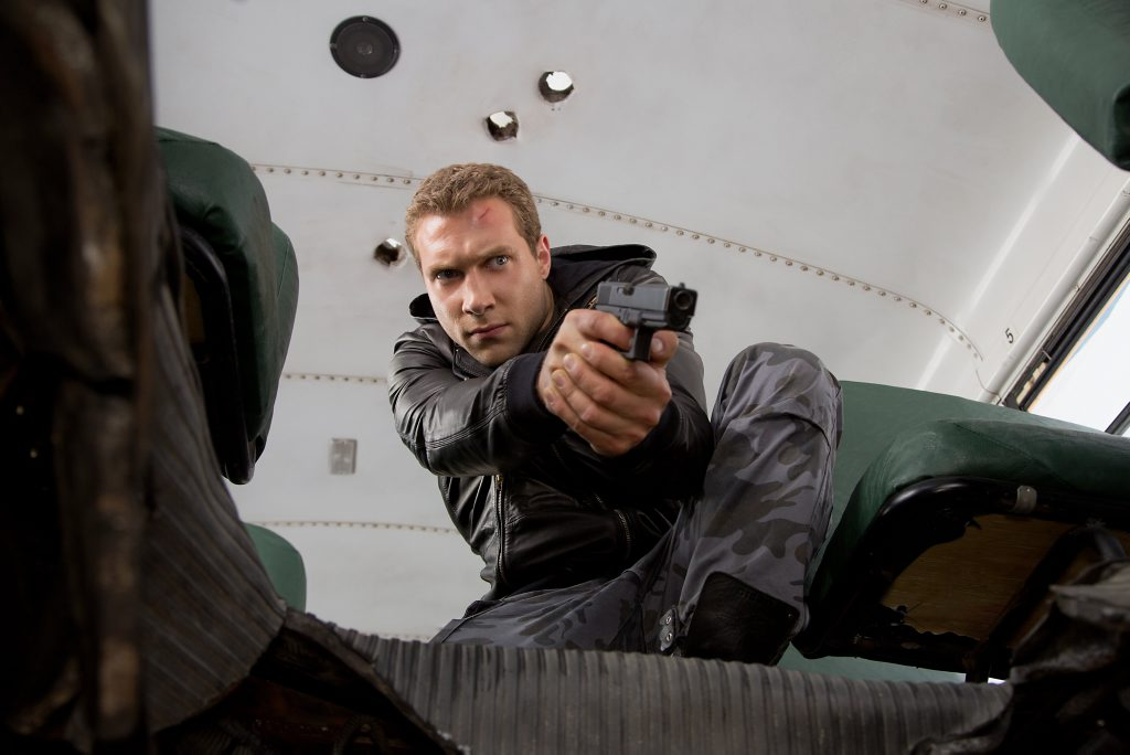 Jai Courtney as Kyle Reese in a scene from the movie Terminator Genisys.