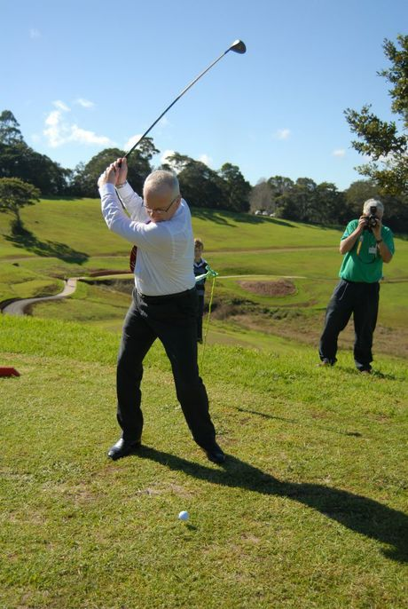 Sunshine Coast Mayor Mark Jamieson has the first hit out after officially opening the Maleny golf course. Photo Jessica McKenzie / Range News