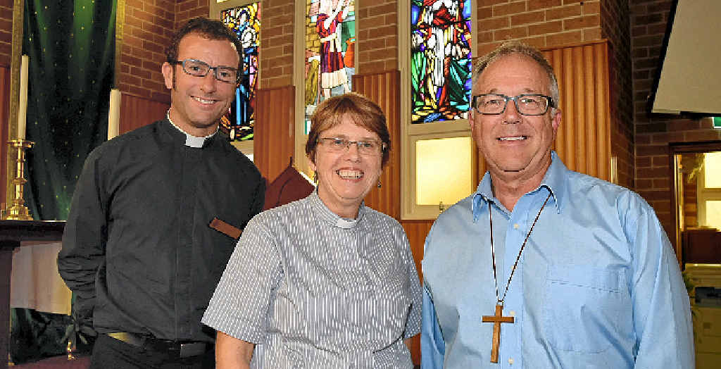 NEW RADICALS: Father Matthew Smedley of the Anglican Church of Bangalow, Reverend Hilary Singleton of the Byron Bay Anglican Church and Reverend Ken Day from the Uniting Church of Byron Shire will take part in Sunday's combined service.