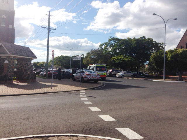 A crash at the intersection of Maryborough and Woongarra Sts.