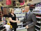 Jenny Chapman owner of Price Attack in Orion Shopping meets Queensland Treasurer Curtis Pitt MP. Photo: David Nielsen / The Queensland Times