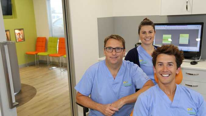 NOW OPEN: Dr Richard Townsend (left), Vanessa Beaupeurt and Dr James Bradbury at Townsend Family Dental's second clinic, which opened in Marcoola on Thursday June 25. Photo Contributed