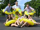 The City Slider will take over Ipswich's Griffith Road on October 31. Cr Andrew Antoniolli, Cr Bruce Casos, Ipswich Mayor Paul Pisasale with Emily Feldon, Reagan Merritt, Jake Graham, Jessica Bell and Heath Power. Photo: Rob Williams / The Queensland Times