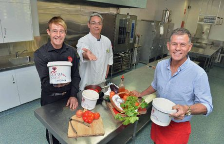 SUPPORT ON THE MENU: Gympie chefs joining forces to raise funds for Little Haven Palliative care are (from left) Paul Jones, head chef and owner of Dish restaurant, and George Isaac, chef and owner of Zesty Edibles Gunabul Homestead, with Derek Connolly, owner of Great Eastern Motor Inn, Gympie.