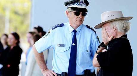 Police Acting Inspector Wayne Crotty and Ballina Shire mayor David Wright at the scene.