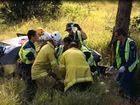 VIDEO: elderly man taken to hospital after highway crash