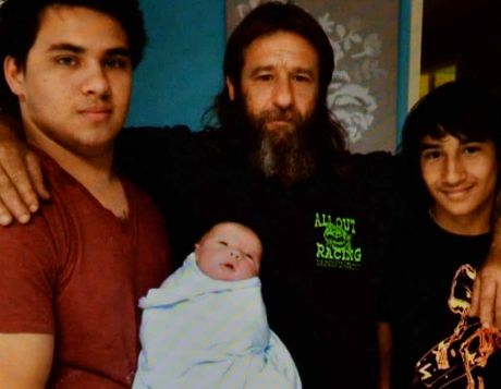 LOST SON FOUND: Manny Ellul discovered his son Christopher (with beard) after 47 years of searching. Christopher, who lives in Perth, is pictured with his two sons and grandson.