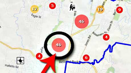 The crime map showing Redbank Plains and surrounding areas. The circled area shows the number of home break-ins and car thefts in the Dearden's neighbourhood from January 1 to July 1.