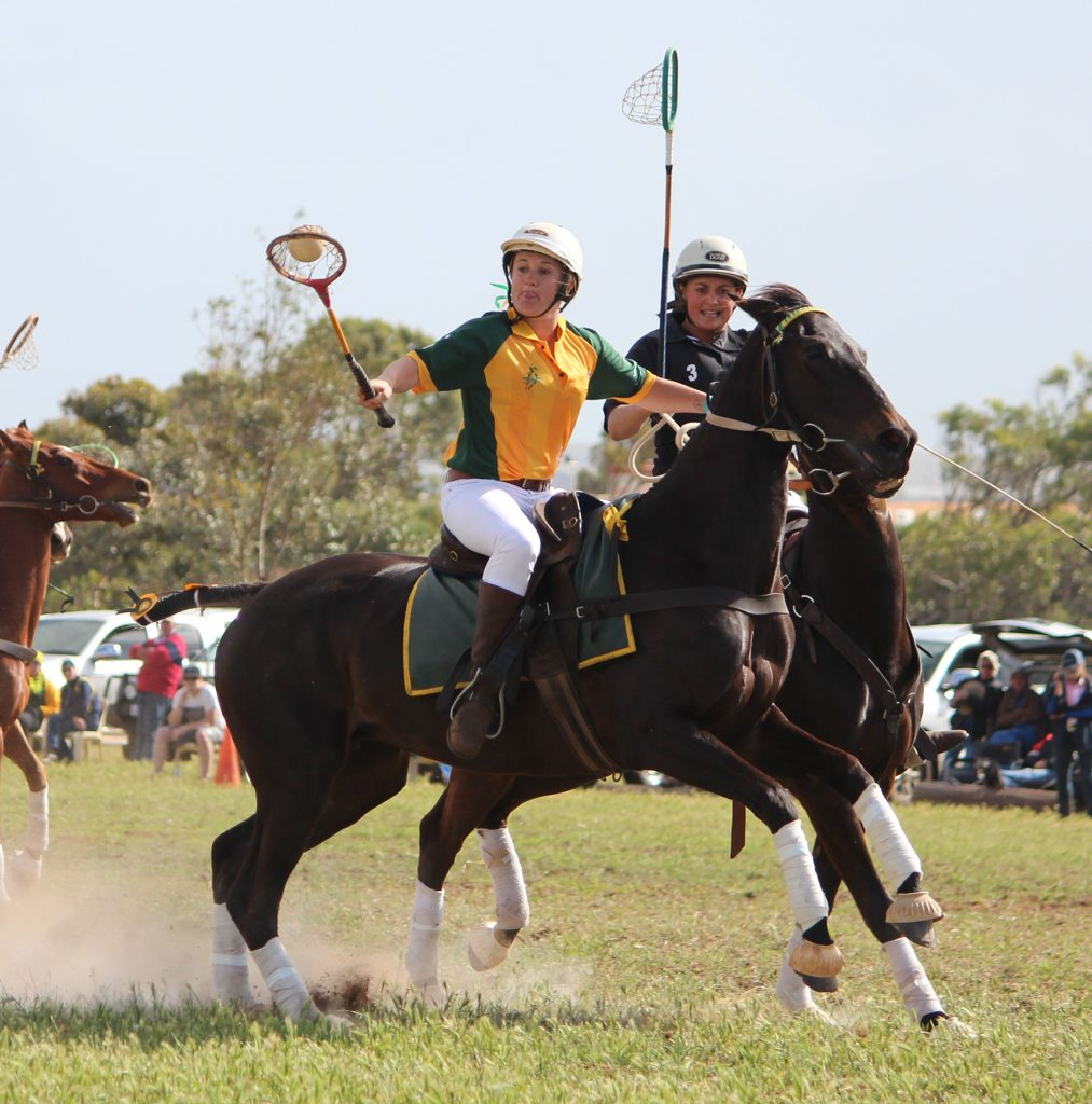 Cunningham Polocrosse Club member Lauren Cant shows her style for Australia in a Test and is playing in this year's World Cup.