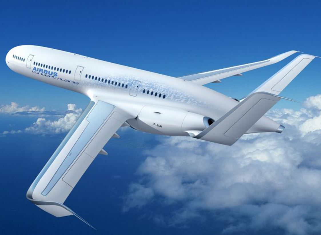 An artist's impression of the Airbus Concept Plane, which would use plastics instead of aluminium.