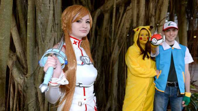 GAME ON: Kate Woodfall as Asuna from Sword Art Online, Madisyn Smith as Pikachu and Scott Donnelly as Ash, both from Pokemon, dressed as their favourite characters for the Haven Video Games and Pop Culture Expo.
