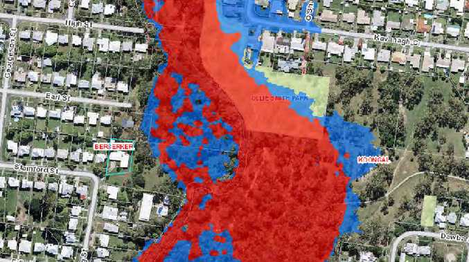 HIGH AND DRY: Rockhampton Regional Council flood maps show Susanne Young's property is not a flood risk, even during a major flood event. Coloured sections on the map show areas of flood risk; the line indicates Susanne Young's Craig St property.