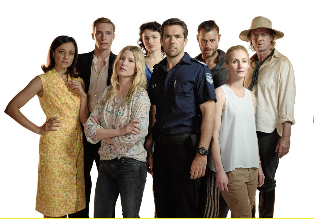 The cast of the TV series Glitch, from left, Daniela Farinacci, Sean Keenan, Emma Booth, Hannah Monson, Patrick Brammall, Rodger Corser, Genevieve O'Reilly and Ned Dennehy.