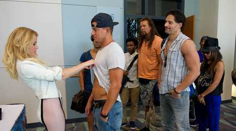 From left, Elizabeth Banks, Channing Tatum, Kevin Nash, Joe Manganiello and Jada Pinkett Smith in a scene from the movie Magic Mike XXL. Supplied by Warner Bros, Claudette Barius.