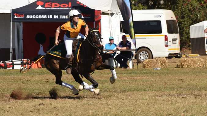 Cunningham club member Lauren Cant shows her style for Australia in the Polocrosse World Cup in South Africa. Photo Libby Wells