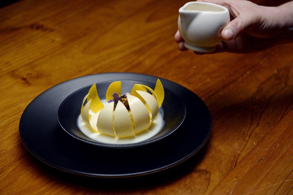 Chef Darren Purchese's Passion Flower dessert pictured in a scene from MasterChef.