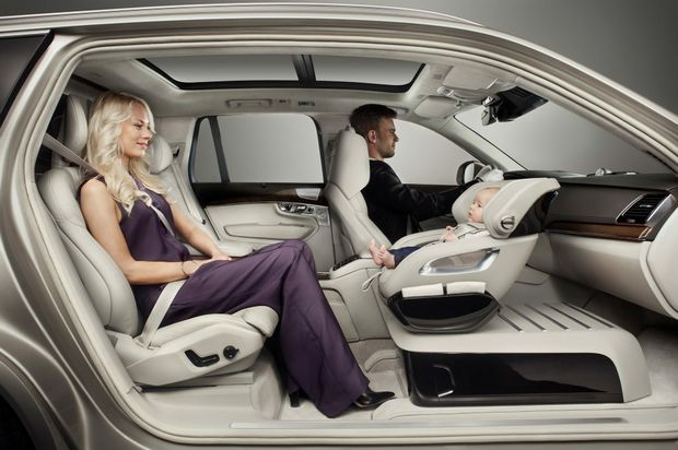 OH BABY: Volvo's baby capsule concept has been shown inside an XC90 Excellence, but it's unconfirmed if it will be available in Australia, but you can order the luxury seven-seater range topper now.
