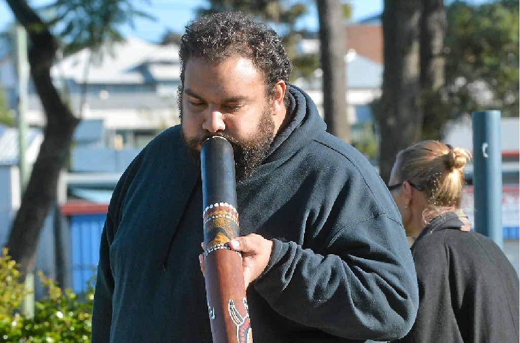 CULTURE: Dan Neill plays the didgeridoo at the NAIDOC flag-raising ceremony.