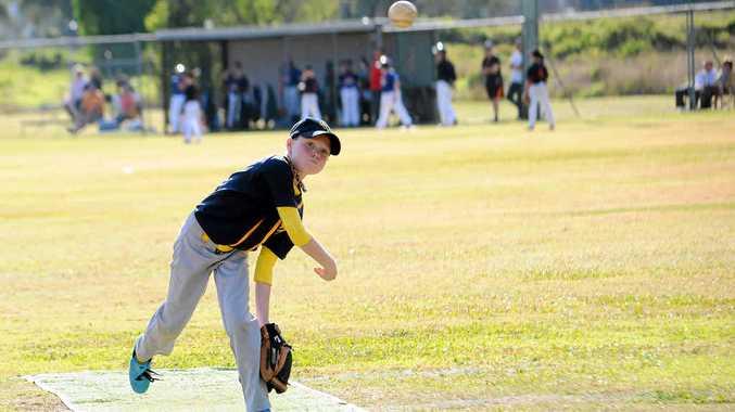 HAVING A BALL: Brisbane North pitcher Maverick Winlaw competing at the Timberjacks baseball carnival.
