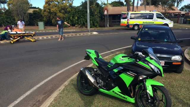 The scene of a motorbike crash today.