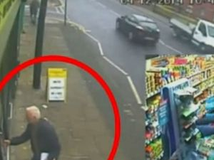 Two pensioners barricaded a knife-wielding man into a shop