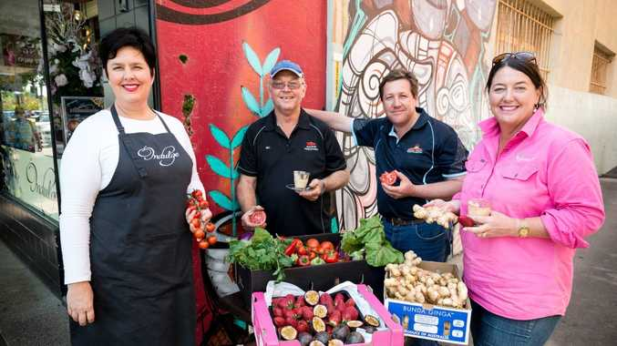 Amanda Hinds from Indulge with some of her favourite suppliers and farmers who will be at the Flats Farmers Market, Bill Schouten from Hestron, Tina McPherson from Tinaberries and Anthony Rehbein from Bunda Ginga.
