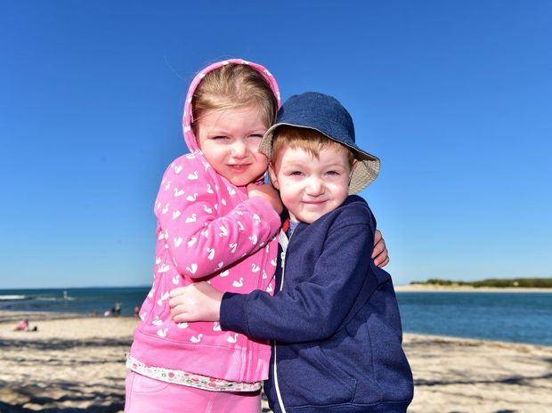 The Sunshine Coast is bracing for a cold snap. Five-year-old Twins Amber and Taylor Whittingham, of Brisbane, felt the cold at Bulcock Beach.