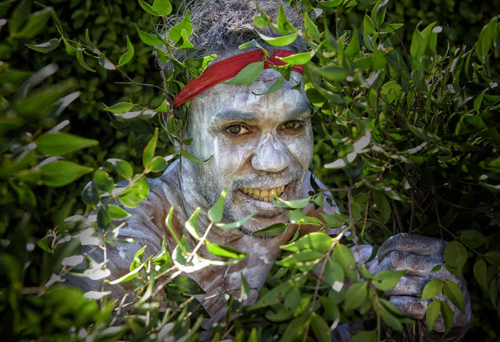 ENTERTAINING: Keenan Laurie, a member of Bundjalung Dance Troupe, after performing at yesterday's Grafton Base Hospital NAIDOC ceremony. Photo: Adam Hourigan