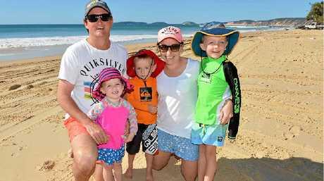 Patrick, Josie, Caleb, Brooke and Finegan Nolan at Rainbow Beach.