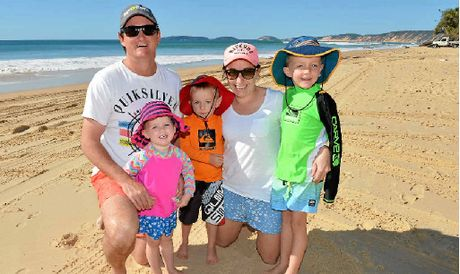 Patrick, Josie, Caleb, Brooke and Finegan Nolan at Rainbow Beach.
