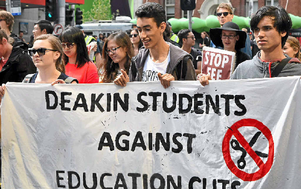 IN MARCH: Students in Melbourne call on Education Minister Christopher Pyne to abandon university fee deregulation.
