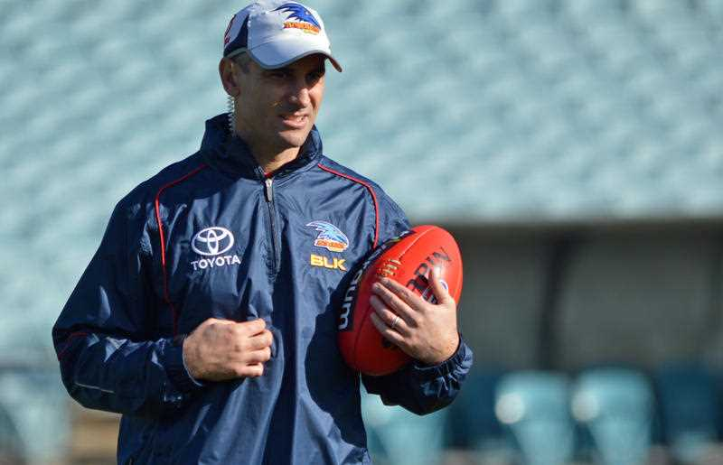 Adelaide Crows' interim coach Scott Camporeale during a training session. The Crows returned to training three days after coach Phil Walsh was allegedly murdered by his son.