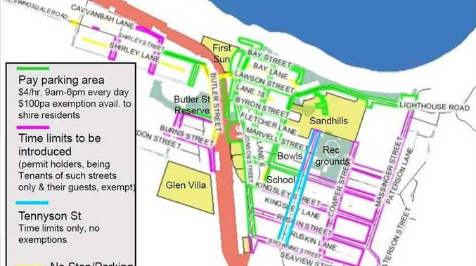 PARKING: The Byron Bay CBD paid parking plan as it stands so far.