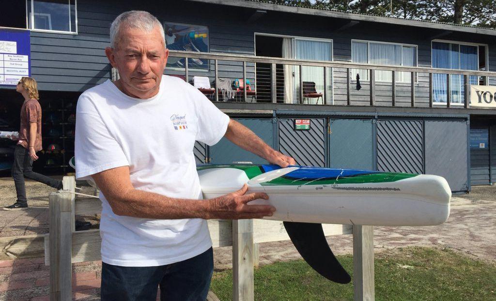 PADDLER: Byron Bay SLSC member Woody Vigden was knocked off his ski at Belongil beach in a suspected shark attack.