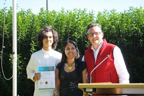 NAIDOC AWARDS: Aboriginal and Torre Straight Islander of the Year (12 to 25 years), Sahaj Blatt, with Delta Kay and Byron Councillor Paul Spooner Photo Contributed