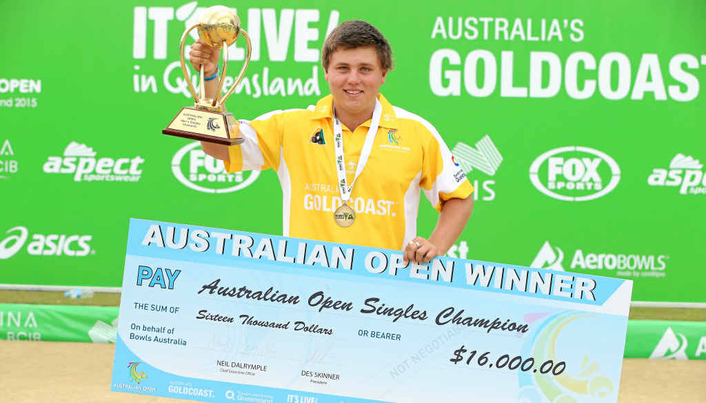 GREAT PLAYER: Aaron Teys with his winner's cheque and trophy after winning the Australian Open on the Gold Coast last month.