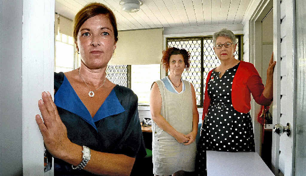 STRESS MOUNTS: Felicia Collyer and Liz Gehring from the women's refuge with Lismore mayor Jenny Dowell late last year.