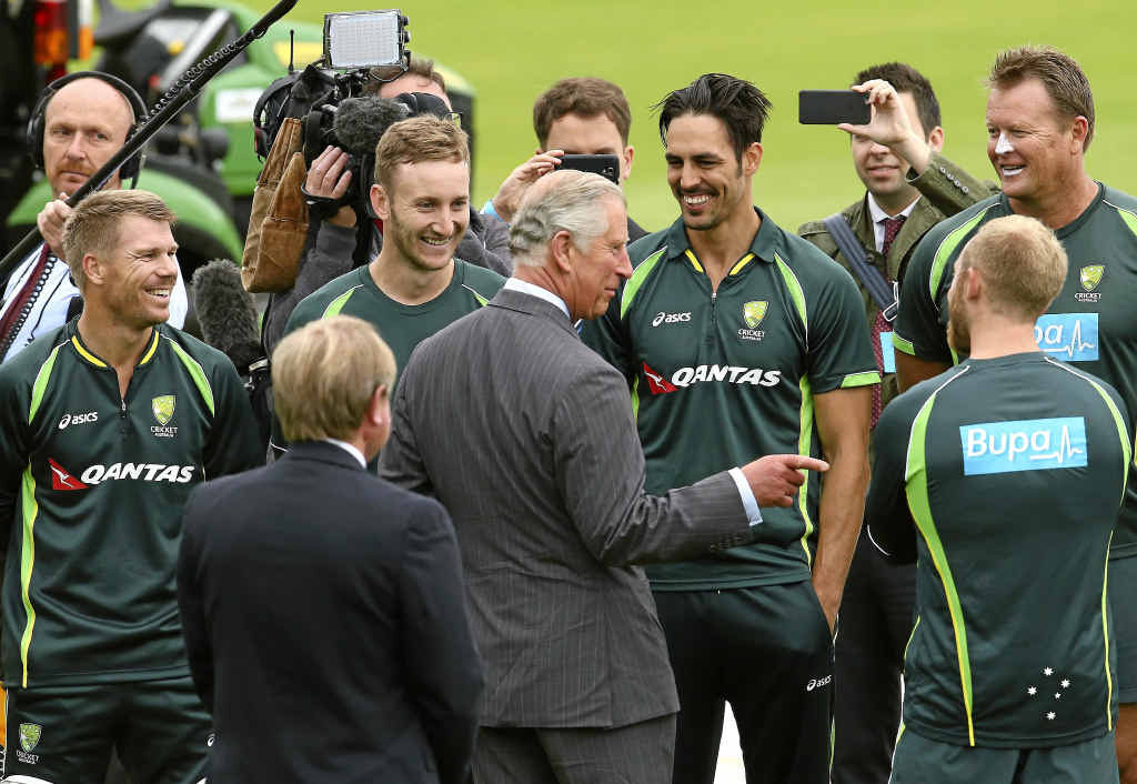 The Prince of Wales, Prince Charles, meets members of the Australian team, including (from left) David Warner, Peter Nevill and Mitchell Johnson during a nets session at SWALEC Stadium in Cardiff yesterday.