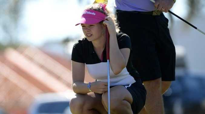 JUNIOR GOLF: Kate Law on the eighteenth hole at the Bargara Golf Club Junior Classic. Photo: Mike Knott / NewsMail