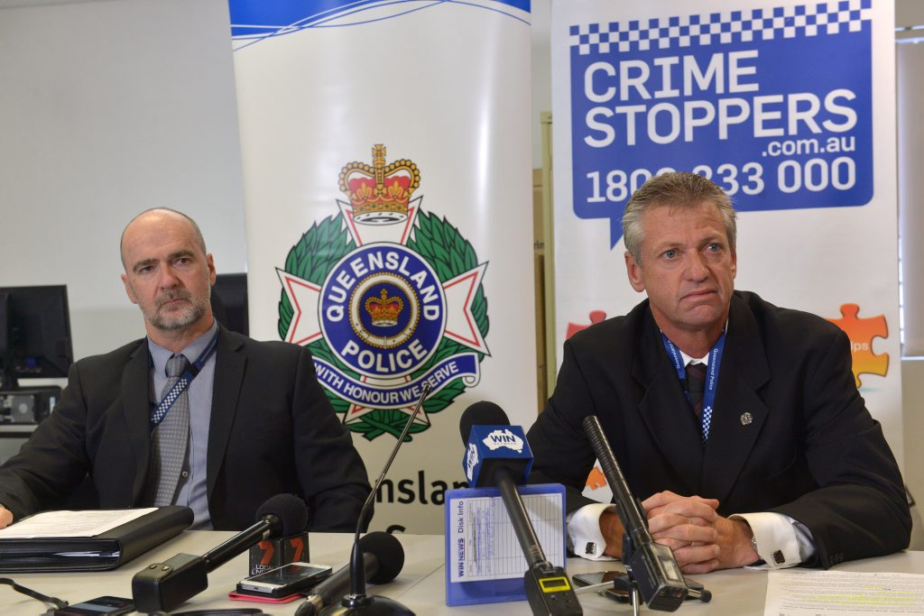 Det Inspector Lance Vercoe and Det Inspector Dave Drinnen discuss details of a significant drug raid on the Sunshine Coast and wider areas that has caught a large number of traffickers. Photo: John McCutcheon / Sunshine Coast Daily