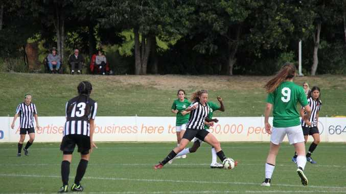Northern NSW's 15 years team continued its unbeaten run on the fourth day of the Westfield National Youth Championships for Girls at C.ex Coffs International Stadium with a 7-0 win over Northern Territory. Photo: Northern NSW Football
