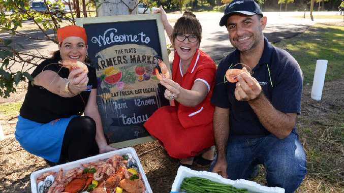 FARM FRESH: Grunske's seafood owner Beryl Grunske, organiser Jess Marsellos and Rosengal bean grower Dave Galati are expecting a good turnout of farmers and shoppers from across the region.