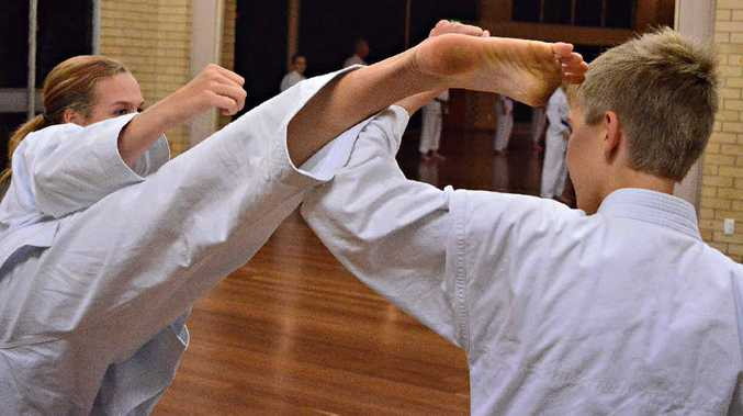 KARATE KIDS: Brooke Fitz-Gibbon trains hard at the Childers Multicultural Centre in preparation for the TSKF Childers 40th birthday celebrations.