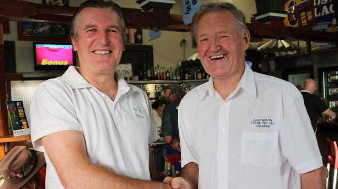 FUNDS RAISED: Isis Bushcare vice president Geoff Baldwin thanking Buffalo Lodge member John Buckingham for his support.