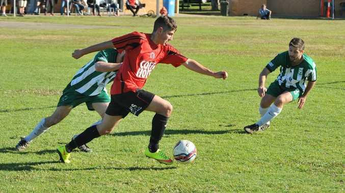 Football: Coffs United v Sawtell at McLean St Oval. 12 JULY 2015. Photo David Barwell / Coffs Coast Advocate